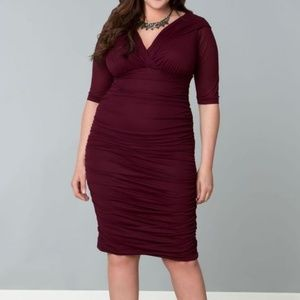 Kiyonna Maroon Betsy Ruched Dress